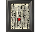 "Custom Birch Trees print your initials in heart A vintage dictionary book art print Rustic Decor Valentine Gift Custom wedding print 8.5x11"""