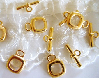 Set Gold Plated Square Toggle Clasps Findings 16mm- Pk 1 set
