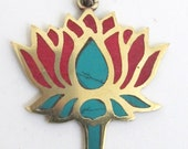 Tibetan Lotus flower brass pendant with turquoise coral inlay PM091