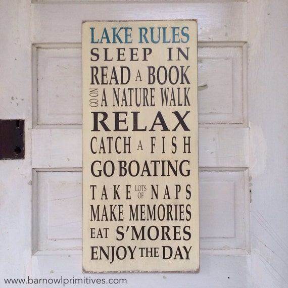 Lake Rules Typography Word Art Sign Vintage Style