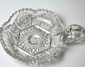 Antique Cut Glass Nappy Candy Dish - American Brilliant Period 1900s