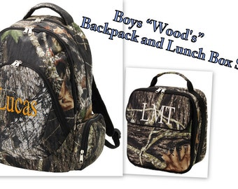 "Boy's Camo ""Wood's""  Backpack and Matching Lunch Box Set FREE PERSONALIZATION"