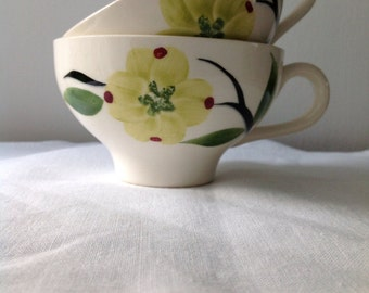 Vintage Hand Painted Blue Ridge Pottery Cups - set of 2 - Teacups - Coffee Cups - Dizie Dogwood Flowers