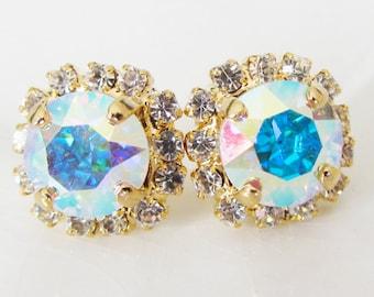 Skyler Earrings Aurora Borealis Stud Earrings Rhinestones Swarovski Aurora Borealis Post  Pavé Earrings