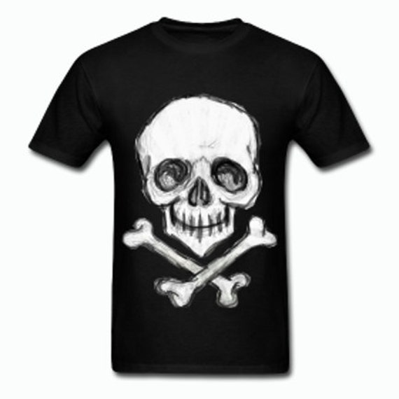 Happy Pirate Skull and Cross bones T shirt