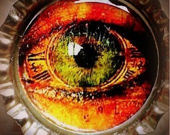 Green Clock Steampunk Eye Bottle Cap Magnet