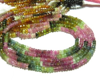 14 inches - SO GORGEOUS - WATER Melon - Tourmaline - Micro Faceted - Rondell Beads Size 4 Mm Graet Quality Great Price