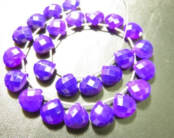 5 Matched Pairs Calibrated size 12x12 mm - Gorgeous Dark Amethyst Colour CHALCEDONY - Faceted Heart Briolett Total 10 pcs