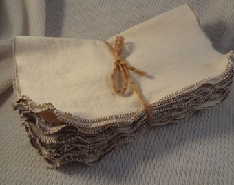 Soft Flannel Reusable Baby Wipes or Towels - Bundle of 10 - Natural Color 2841