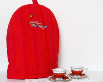 Embroidered Coffee Pot Cozy, Red Coffee Pot Warmer, Handmade, Large Size