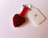Made with love x tiny red heart beaded token keepsake gift