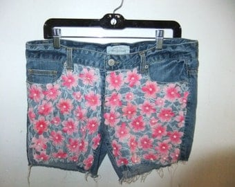Repurposed Denim Shorts with Lace, Beads and Silk Flowers