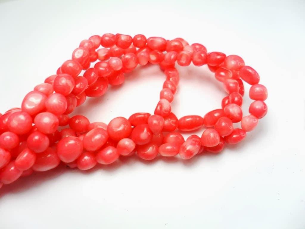 gemstone bright pink coral small nuggetround