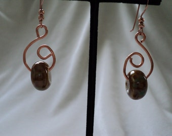 Copper Swirls and Dione Bead Earrings