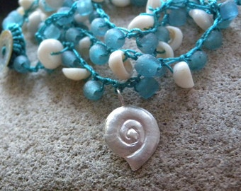 Aqua Recycled Glass Crocheted Wrap Bracelet or Necklace with Sterling Shell Charm