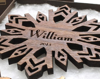 Babys 1st Christmas Personalized Ornament Wood Snowflake with Custom Name Engraving . Custom Ornament Gift Box Set with Monogram Box