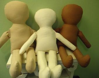 "Cloth rag Doll Body-15"" doll-katiesdolls-doll supply-many colors available!"