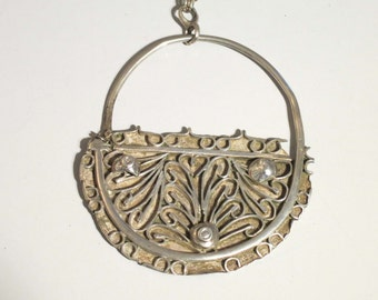 On Sale!  Vintage silver chain with large silver pendant Tunisia