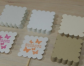 Scallop Square Die Cuts (10) Eco-friendly Cardstock - thick cardstock