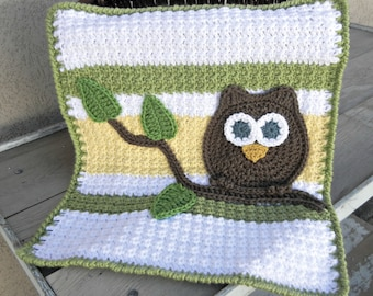Owl Baby Blanket Lovey Size Green Yellow Baby Shower Gift Gender Neutral