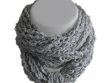 Infinity scarf, crochet, handmade, circle scarf, chain scarf, grey, neutral color, soft, light, spring