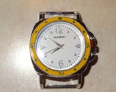 Solid Bar Interchangeable Round Watch Face, Yellow and White, Pink and White