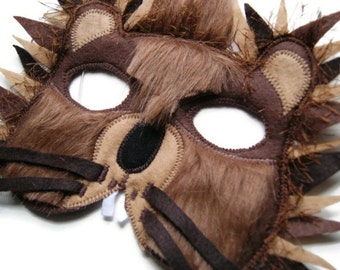 Porcupine Felt Mask, Woodland Animal Mask, Animal Birthday Party Favors, Children's Halloween Costume, Adult Mask