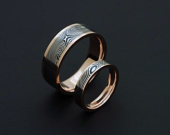Genuine stainless Damascus Steel and Rose Gold Wedding Band Set PD75