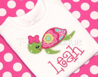 SALE - Sea Turtle Girl Embroidered Shirt or Bodysuit - Spring or Summer Vacation Trip to the Beach - FREE PERSONALIZATION