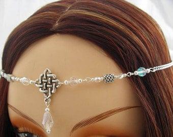 CELTIC Pearl CIRCLET, elven Headpiece, Renaissance circlet, wedding pearl crown, silver wedding tiara, Bridal Headpiece silver elven circlet