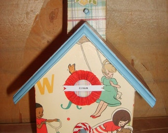 Schoolhouse Children Playing Decoupaged Birdhouse