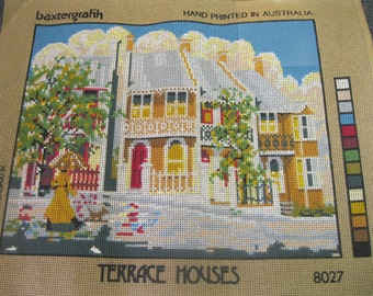 "1985 BAXTERGRAFIK Hand Printed in Australia Needlepoint Canvas - ""Terrace Houses"" series 8027"