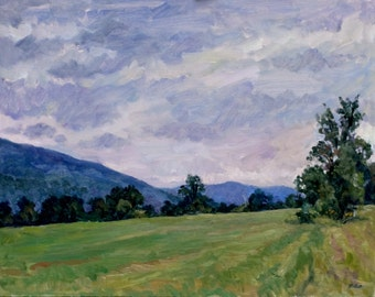 Summer Fields, Overcast Berkshires. Realist Oil Painting Landscape, 11x14 Plein Air Impressionist Oil on Panel, Signed Original Fine Art