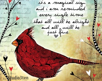 Sign / cardinal / original illustration ART Print Hand SIGNED size 8 x 10 NEW