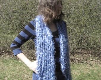 Blue Fun Fur and Fuzz Fishnet scarf