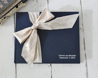 Wedding Photo Book - Custom Wedding Album - Silk Dupioni Bow by Claire Magnolia