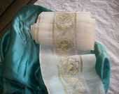 """29"""" Antique french embroidered trim with metal and silk"""