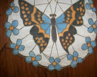 Hand done rare silk butterfly doily or appliqué