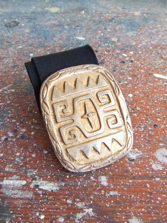 SALE  / Vintage 1980s witchy brass cast statement belt
