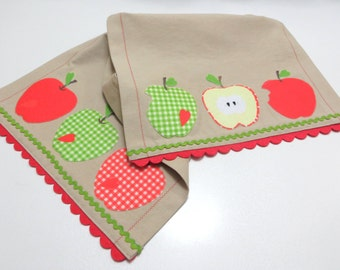 Green, Red Apples Appliqued Table Runner-Beige Linen Fabric with Red Felt Trim