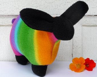 Rainbow sheep stuffed animal, stuffed sheep, snuggly stuffed lamb, fleece sheep