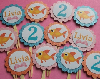 Goldfish girl cupcake toppers