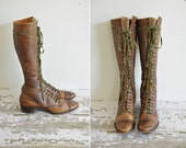 antique leather boots / 1930s lace up leather boots / rare knee high boots