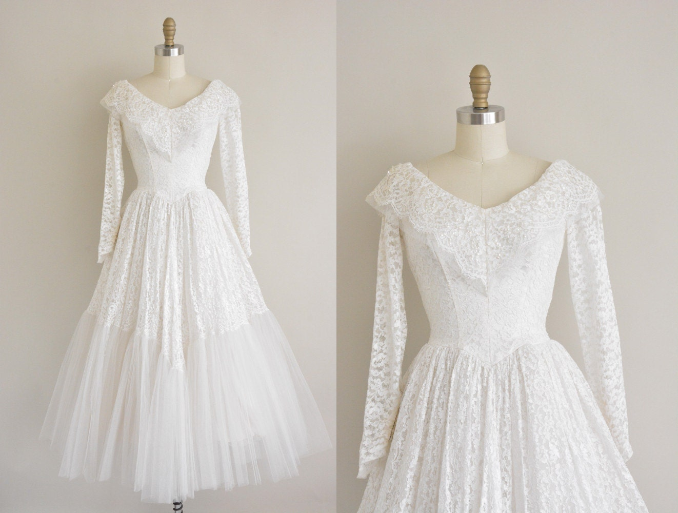 vintage white lace long sleeve winter wedding dress 1950s
