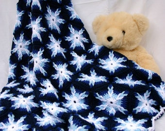 Crochet throw afghan hexagons blue white snowflake couch blanket home decor lap cover bedding washable warm winter ice color