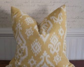 SALE ~ Decorative Pillow Cover: Ikat Yellow and Cream Design for an 18 X 18 Pillow