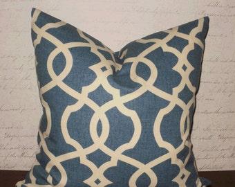 SALE ~ Decorative Throw Pillows: 18 X 18 Navy and Cream Lattice Designer Accent Pillow Cover
