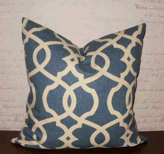 Decorative Throw Pillows: 18 X 18 Navy and Cream by ArtisticCotton