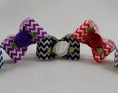 "Chevron Dog Topknot Bow Assortment 5/8"" Grosgrain Ribbon Grooming Bows Shih Tzu Maltese Yorkie Havanese"