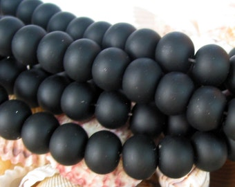 "8"" 19pcs JET BLACK 14mm x 11mm LARGE sea beach glass rondelle Beads frosted recycled"